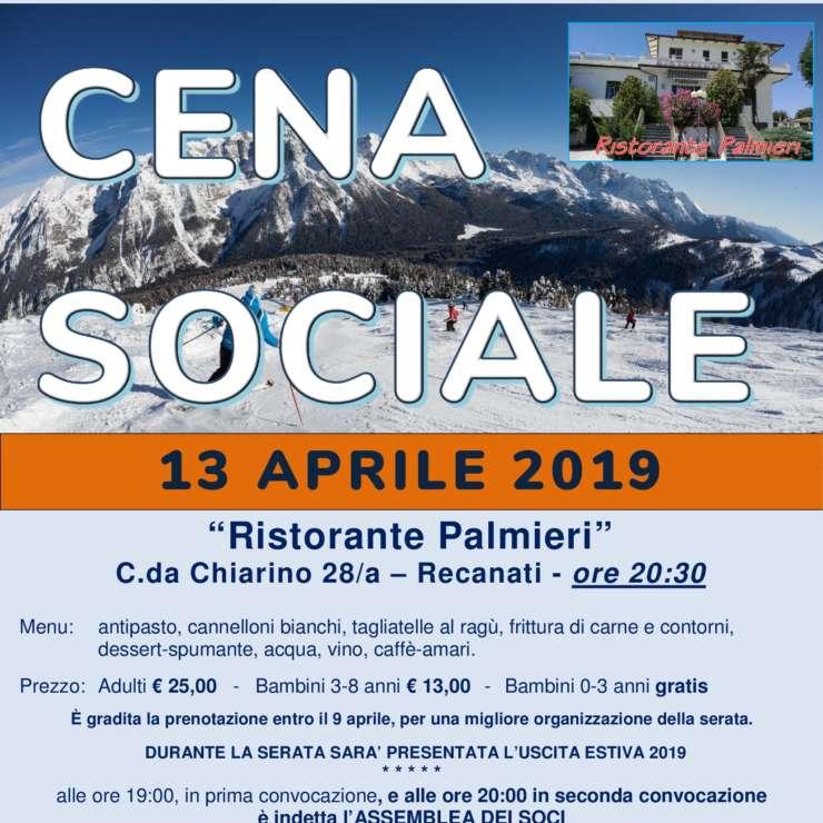 Cena Sociale 13 aprile 2019